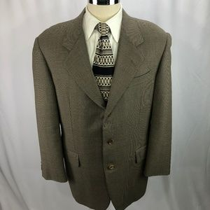 Hickey Freeman Men's Beige Wool Blazer 42R